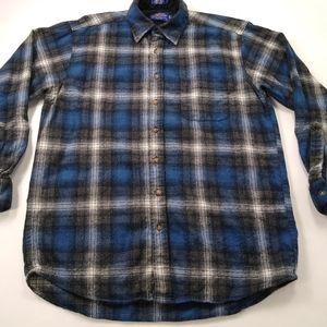 Pendelton Vintage Flannel Wool Shirt Green Plaid